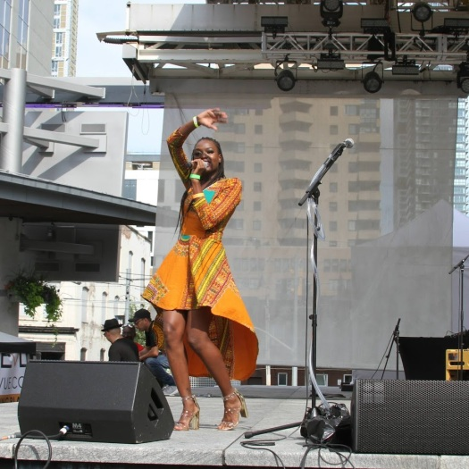 Amanie Illfated performs at Yonge Dundas Square in Toronto as part of TDotFest